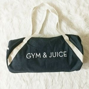 "NWOT Private Party ""Gym & Juice"" Denim Duffel Bag"